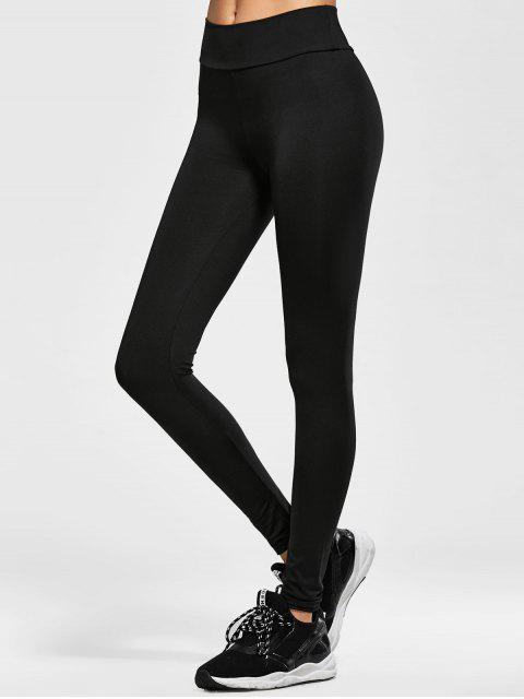 Dünne elastische Taillen-Leggings - Schwarz Eine Größe Mobile