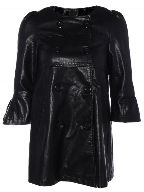 unique Flare Sleeve Double Breasted PU Leather Dress - BLACK M Mobile