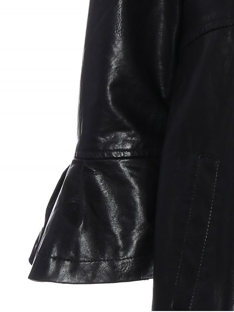 chic Flare Sleeve Double Breasted PU Leather Dress - BLACK XL Mobile