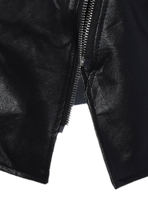 ladies Inclined Zipper PU Leather Biker Jacket - BLACK L Mobile