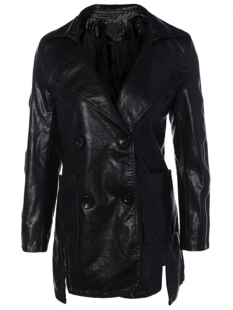chic Lapel Collar Double Breasted PU Leather Coat - BLACK L Mobile