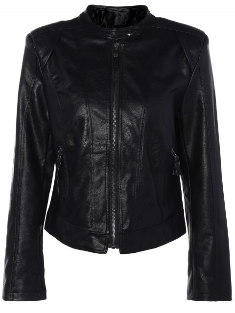 online Punk PU Leather Biker Jacket - BLACK L Mobile