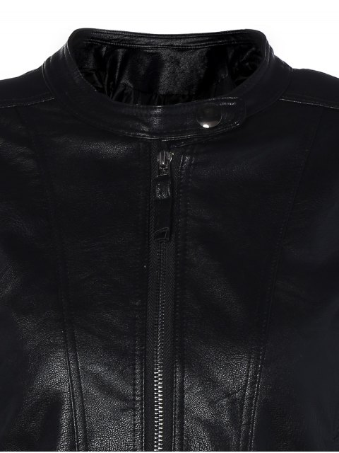 hot Punk PU Leather Biker Jacket - BLACK S Mobile