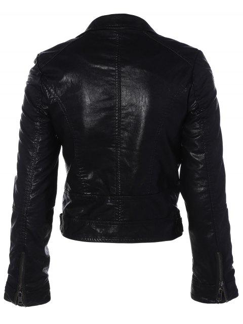 shop Zipper Pocket PU Leather Biker Jacket - BLACK M Mobile