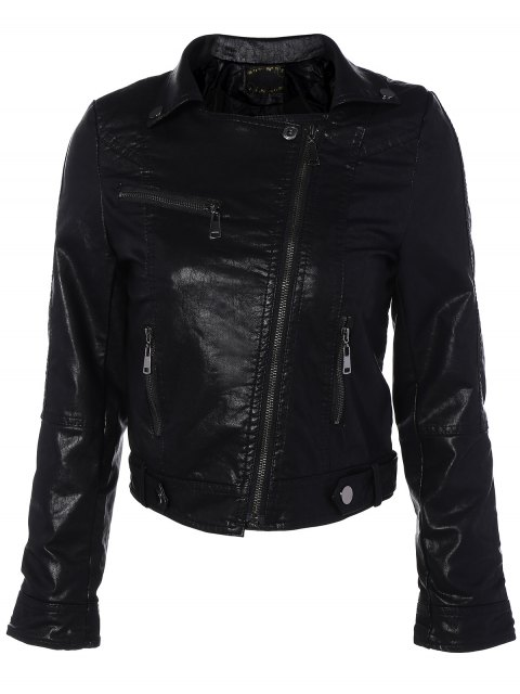 outfits Zipper Pocket PU Leather Biker Jacket - BLACK L Mobile