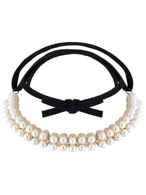 chic Velvet Fake Pearl Choker Necklace - GOLDEN  Mobile