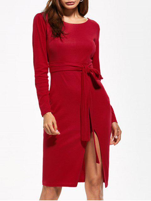 women's Round Neck Furcal Belted Bodycon Dress - RED L Mobile