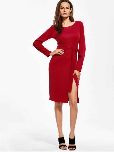 women Round Neck Furcal Belted Bodycon Dress - RED XL Mobile