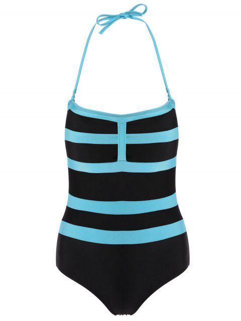 outfit Halter Sleeveless Color Block One-Piece Swimwear - BLACK 2XL Mobile