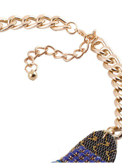 lady Vintage Rhinestone Alloy Flower Necklace - BLUE  Mobile