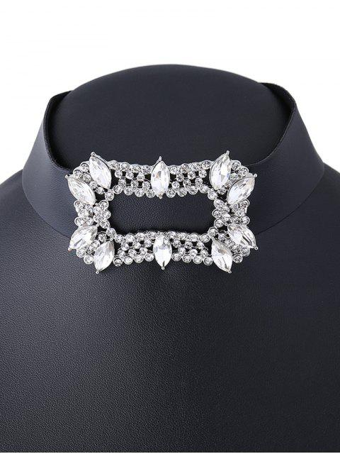 unique Artificial Leather Rhinestoned Choker Necklace - WHITE  Mobile