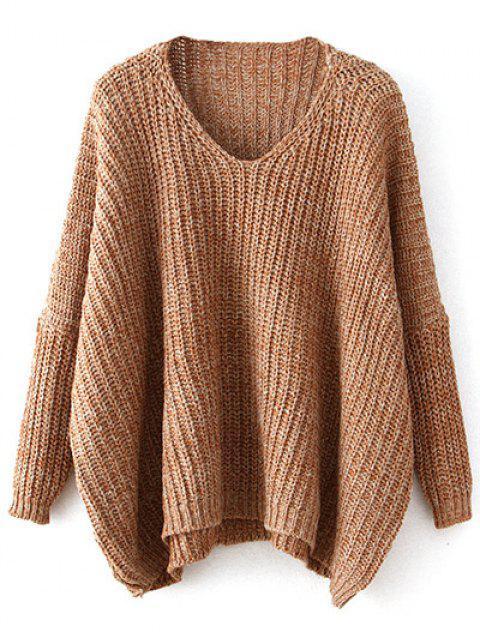 shop Space Dye Oversized Batwing Sweater - KHAKI ONE SIZE Mobile