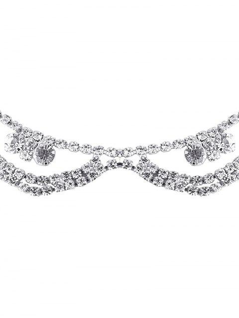 outfit Alloy Rhinestone Layered Necklace - SILVER  Mobile