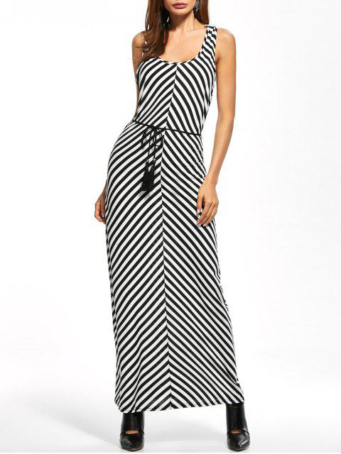 new Striped Racerback Maxi Tank Dress - STRIPE L Mobile