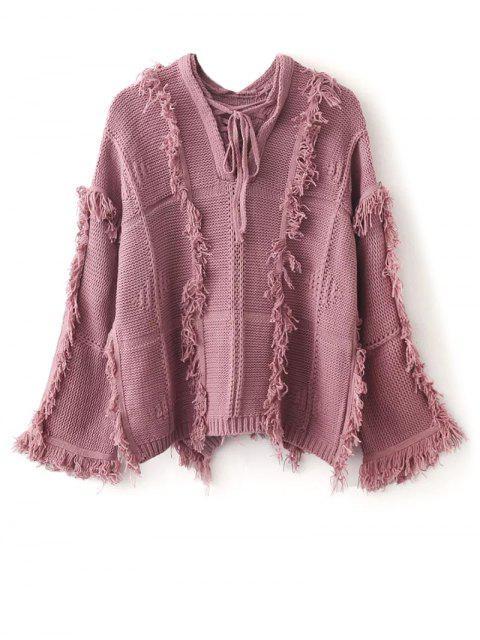 Pull carré oversize avec franges et larges manches et avec épaules basses - Rose  Taille Unique Mobile
