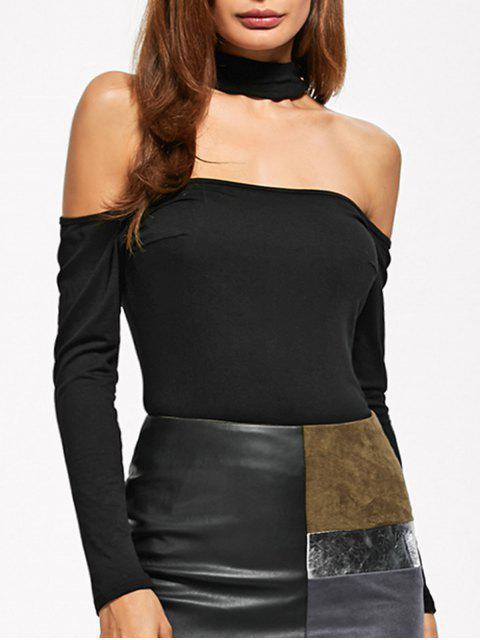 trendy Long Sleeve Fitted Choker Bodysuit - BLACK S Mobile