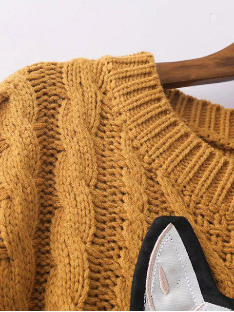 latest Cable Knit Patched Sweater - GRAY ONE SIZE Mobile