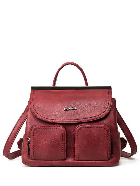 unique Stitching Pockets Metal Trimmed Backpack - RED  Mobile