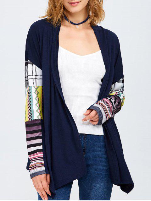 ladies Collarless Tribal Print Duster Coat - PURPLISH BLUE S Mobile