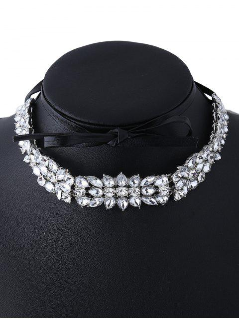womens Faux Leather Rhinestone Necklace - SILVER  Mobile