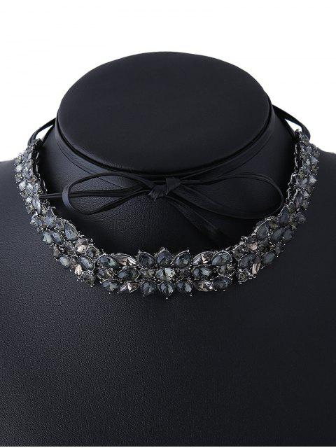 latest Faux Leather Rhinestone Necklace - BLACK  Mobile