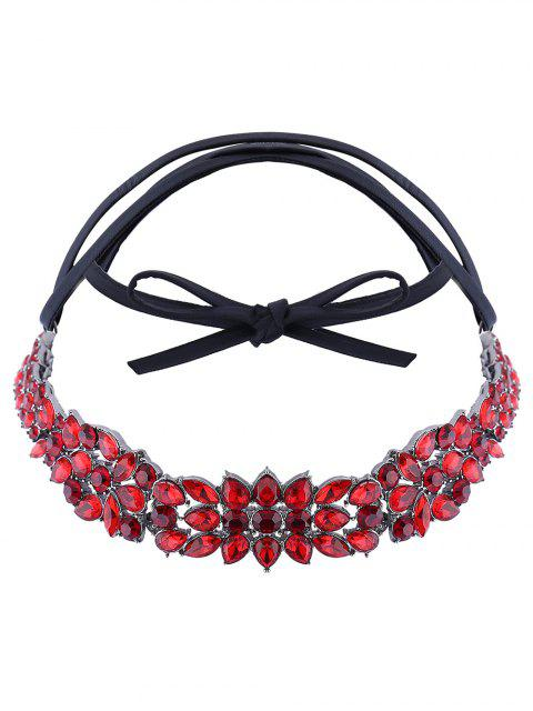 trendy Faux Leather Rhinestone Necklace - RED  Mobile