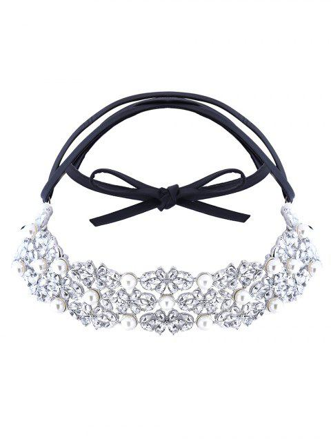 women Faux Pearl Rhinestone PU Leather Necklace - SILVER  Mobile