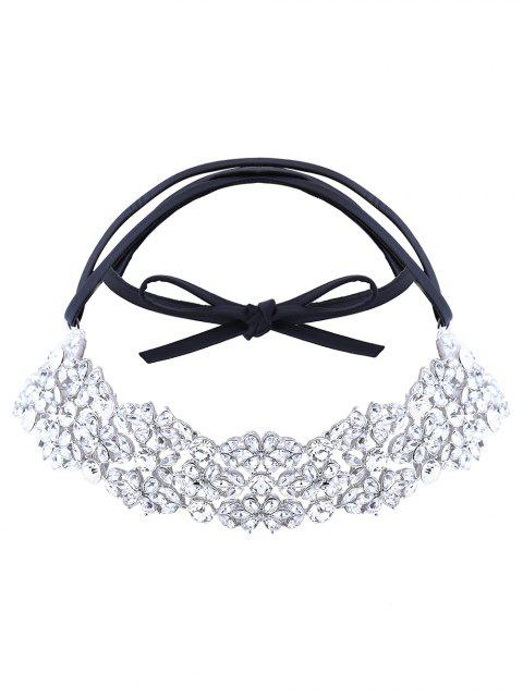 women's Rhinestoned PU Leather Necklace - WHITE  Mobile