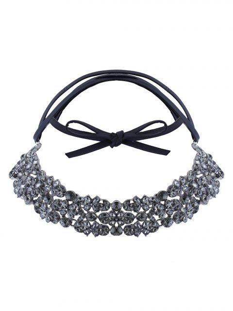fashion Rhinestoned PU Leather Necklace - BLACK  Mobile