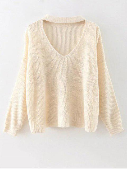 affordable Cutout V Neck Choker Sweater - OFF-WHITE ONE SIZE Mobile