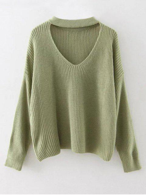 buy Cutout V Neck Choker Sweater - GRASS GREEN ONE SIZE Mobile