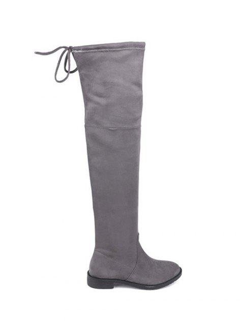 latest Suede Flat Heel Thigh High Boots - GRAY 37 Mobile