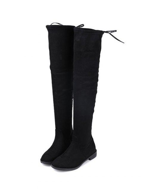 fancy Suede Flat Heel Thigh High Boots - BLACK 38 Mobile