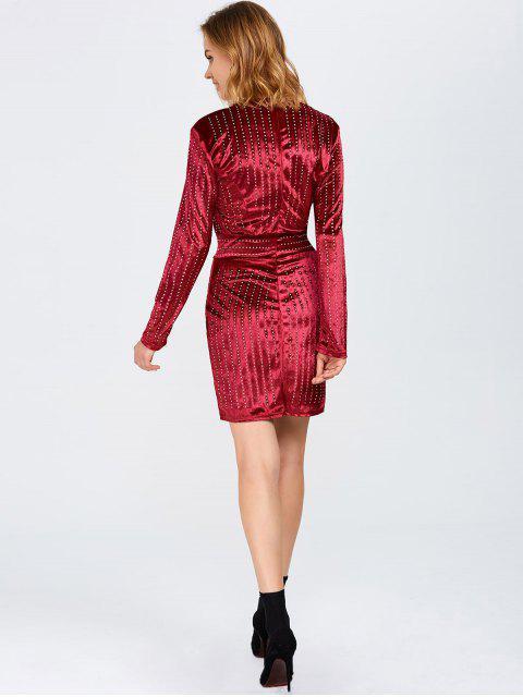 hot Plunge Neck Hot Fix Rhinestone Surplice Dress - BURGUNDY S Mobile