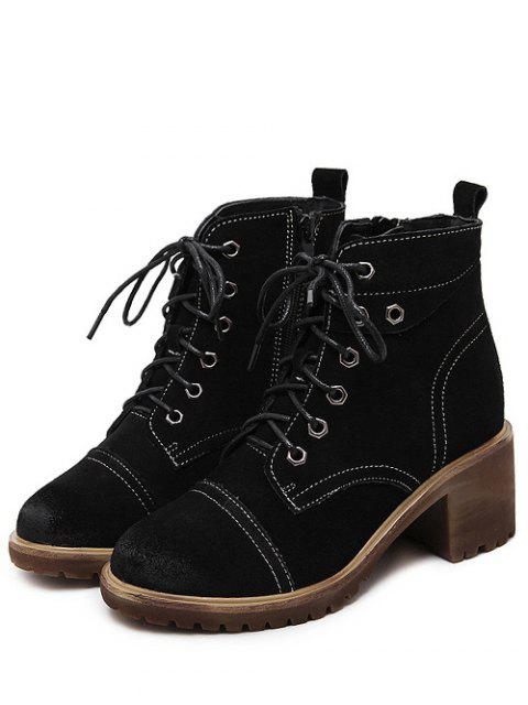sale Eyelets Chunky Heel Combat Boots - BLACK 37 Mobile