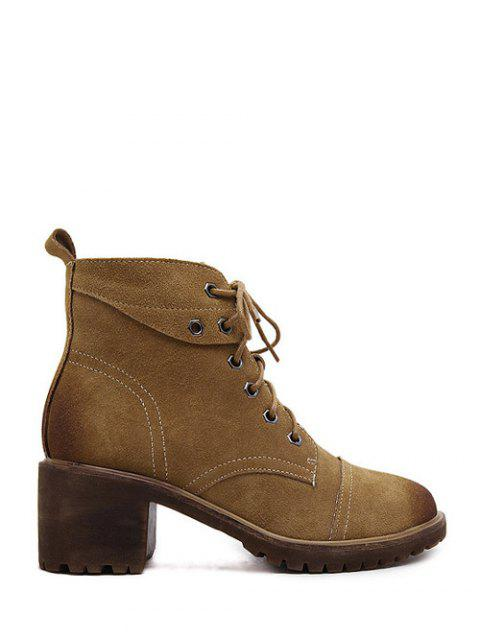 buy Eyelets Chunky Heel Combat Boots - BROWN 39 Mobile