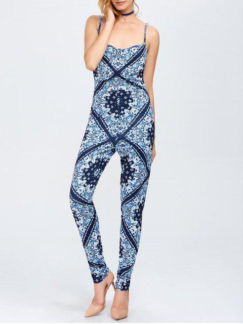 fancy Paisley Print Cami Jumpsuit - BLUE M Mobile