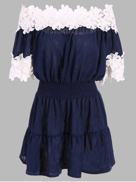 affordable Contrast Lace Off The Shoulder Dress - PURPLISH BLUE XL Mobile