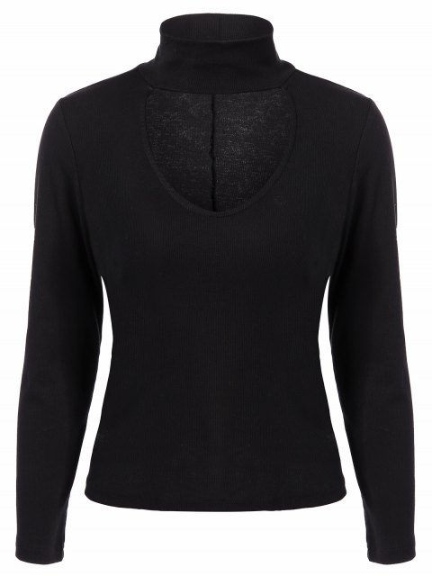 shop Ribbed Long Sleeve Choker Tee - BLACK M Mobile