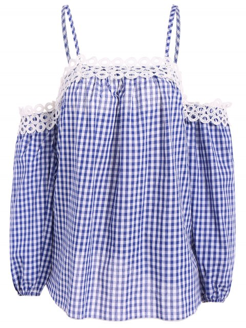 trendy Gingham Check Cold Shoulder Blouse - BLUE AND WHITE 2XL Mobile