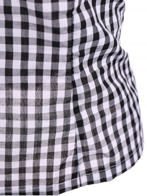 ladies Off The Shoulder Checked Blouse - BLACK 2XL Mobile