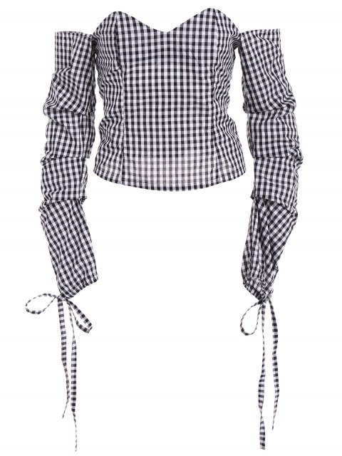 lady Off The Shoulder Checked Blouse - BLACK XL Mobile