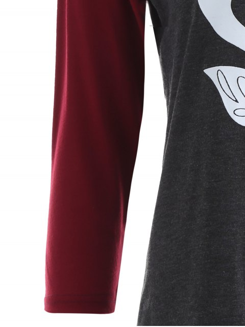 new Raglan Sleeve Graphic Christmas Tee - GRAY AND RED M Mobile