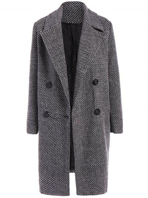 women's Fitting Checked Wool Coat - BLACK XL Mobile