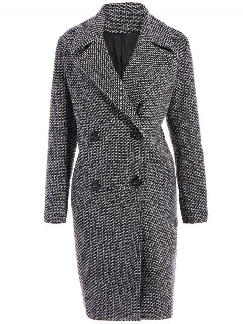 women Fitting Checked Wool Coat - BLACK 2XL Mobile