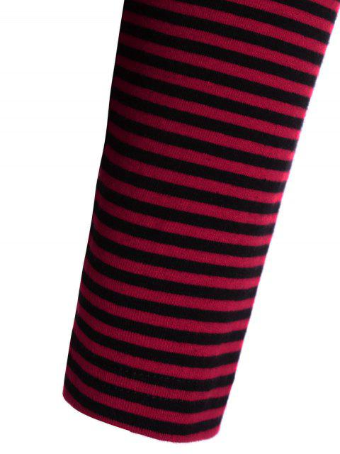buy Striped Long Sleeve Smock T-Shirt - RED L Mobile