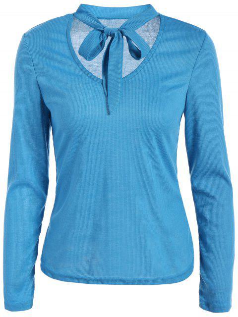 online Long Sleeve Tie Neck Tee - BLUE M Mobile