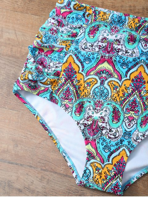 outfits High Waisted Knitted Printed Bikini Set - MULTICOLOR 2XL Mobile