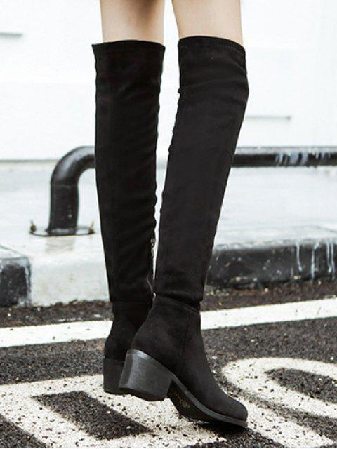 ladies Chunky Heel Thigh High Boots - BLACK 37 Mobile