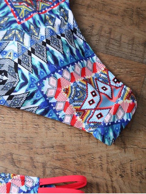 best Diamond Print Halter Neck Bikini - MULTICOLOR S Mobile